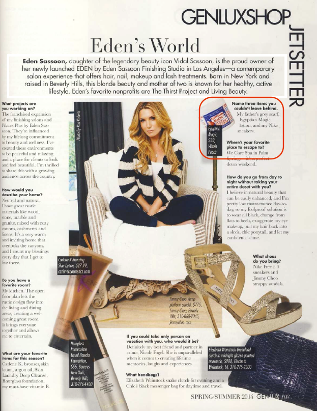 Eden Sassoon names three items she couldn't leave behind incl. Egyptian Magic in Genlux Magazine.